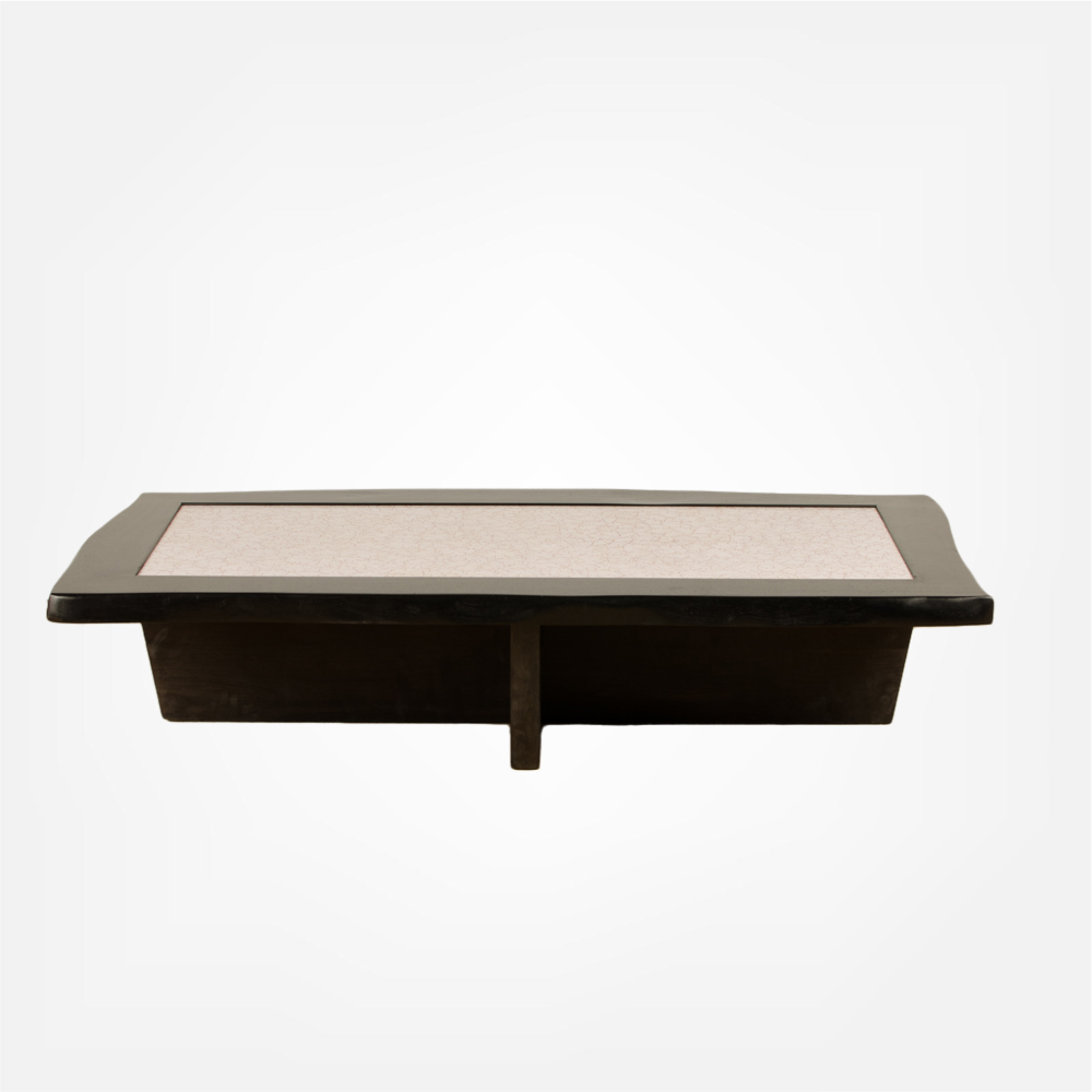 Modernist rectangular coffee table with eggshell fragment top.