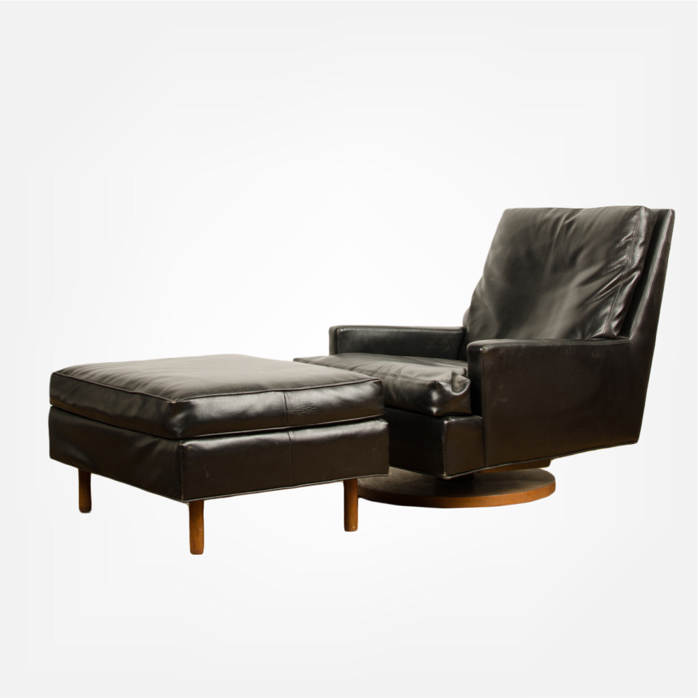 Mid-Century black leather reclining lounge chair with ottoman by Milo Baughman