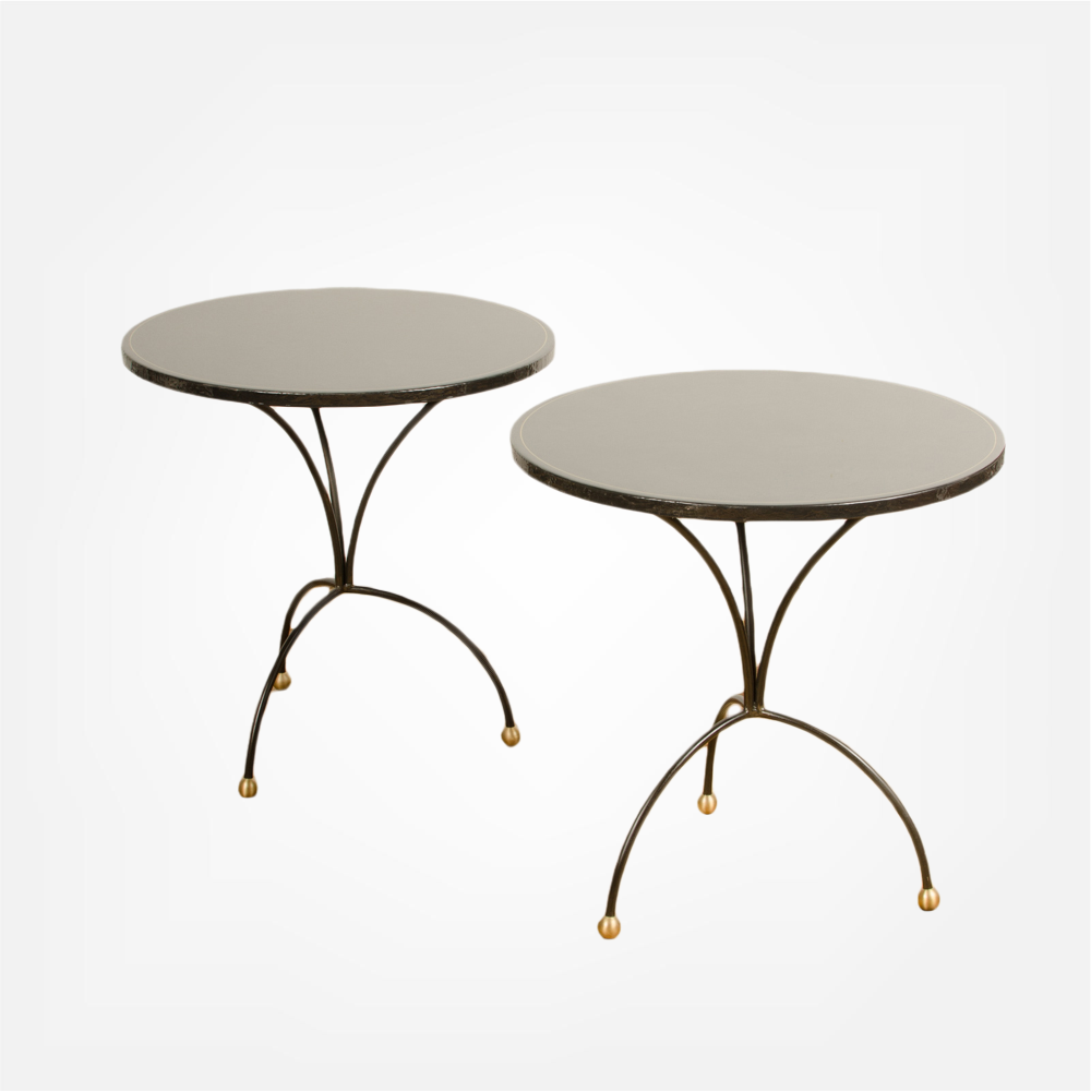 Pair of contemporary poured resign black tables