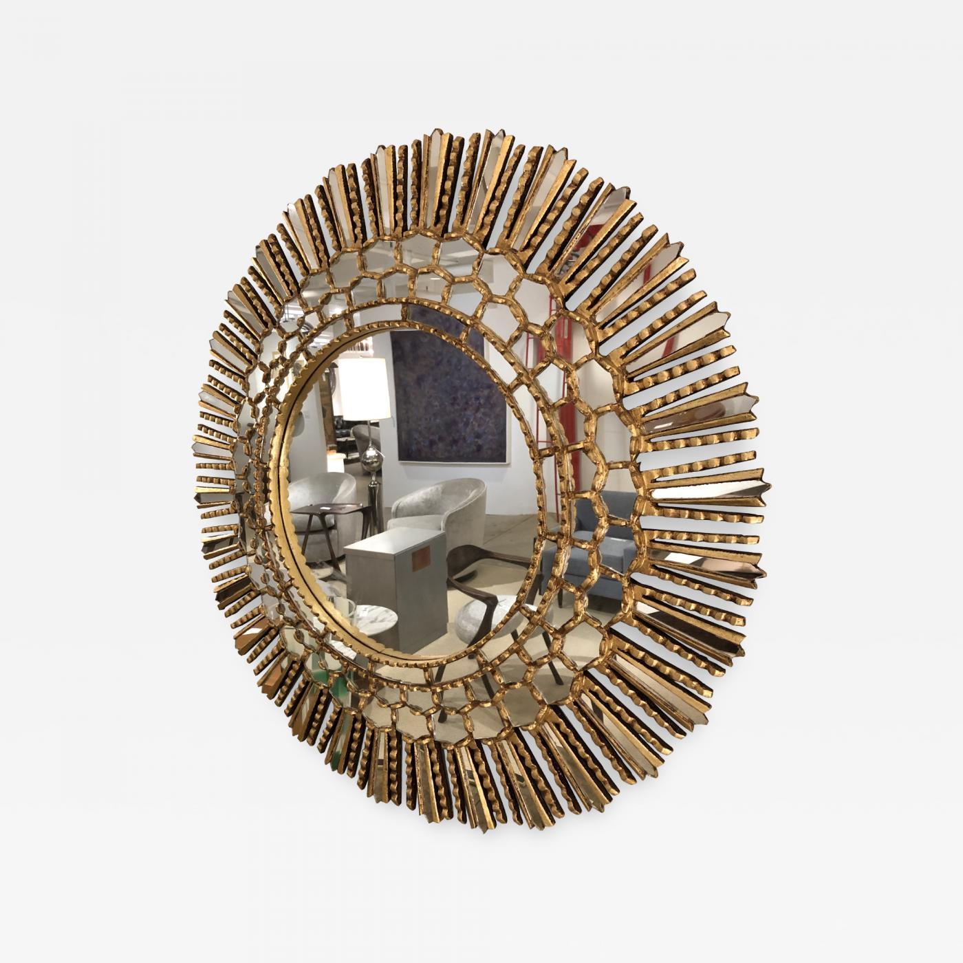 A gilt wood Starburst mirror