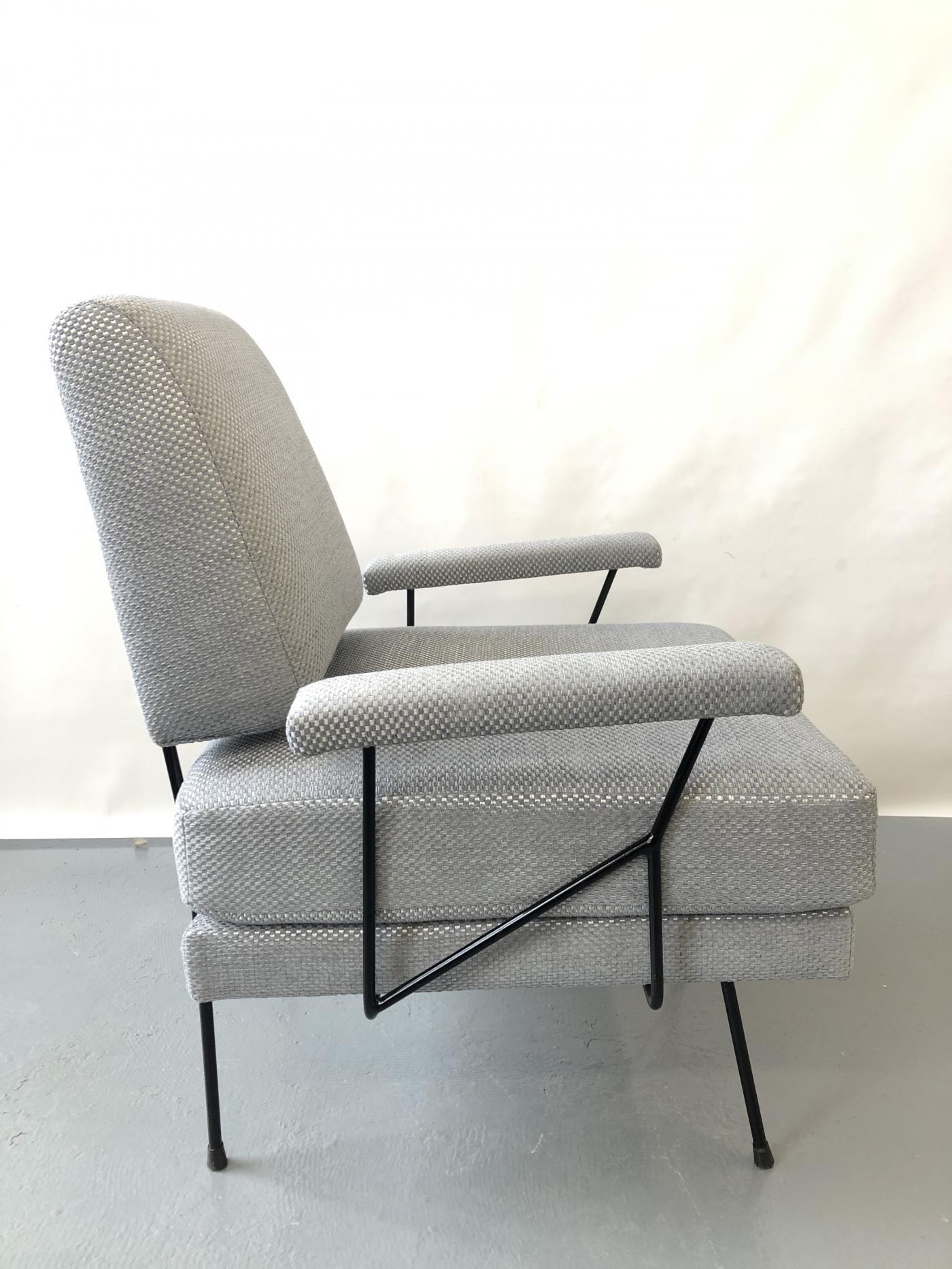 Pair of Mid Century Modern Iron Chairs.