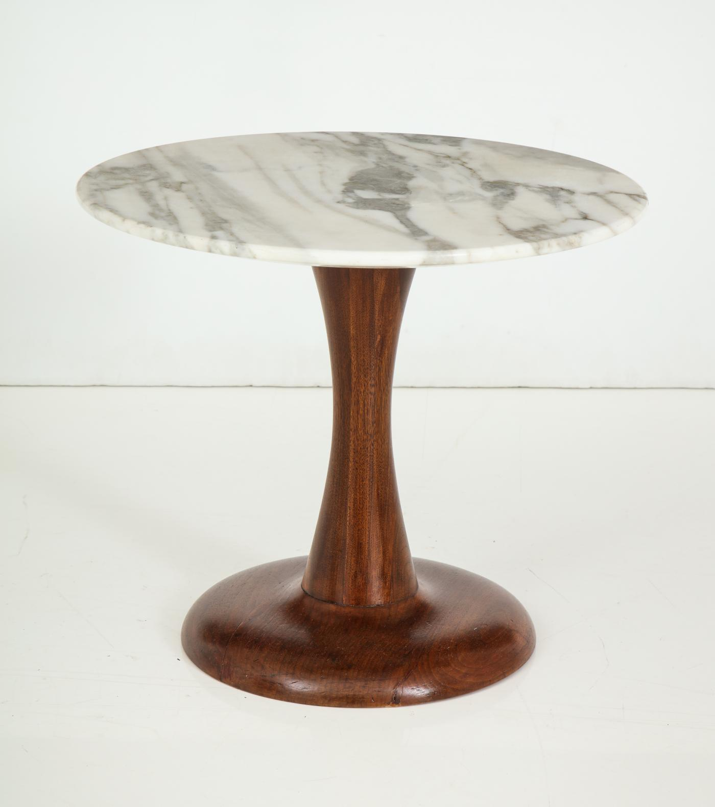 Mid Century Modern side table, Walnut and Marble Top.
