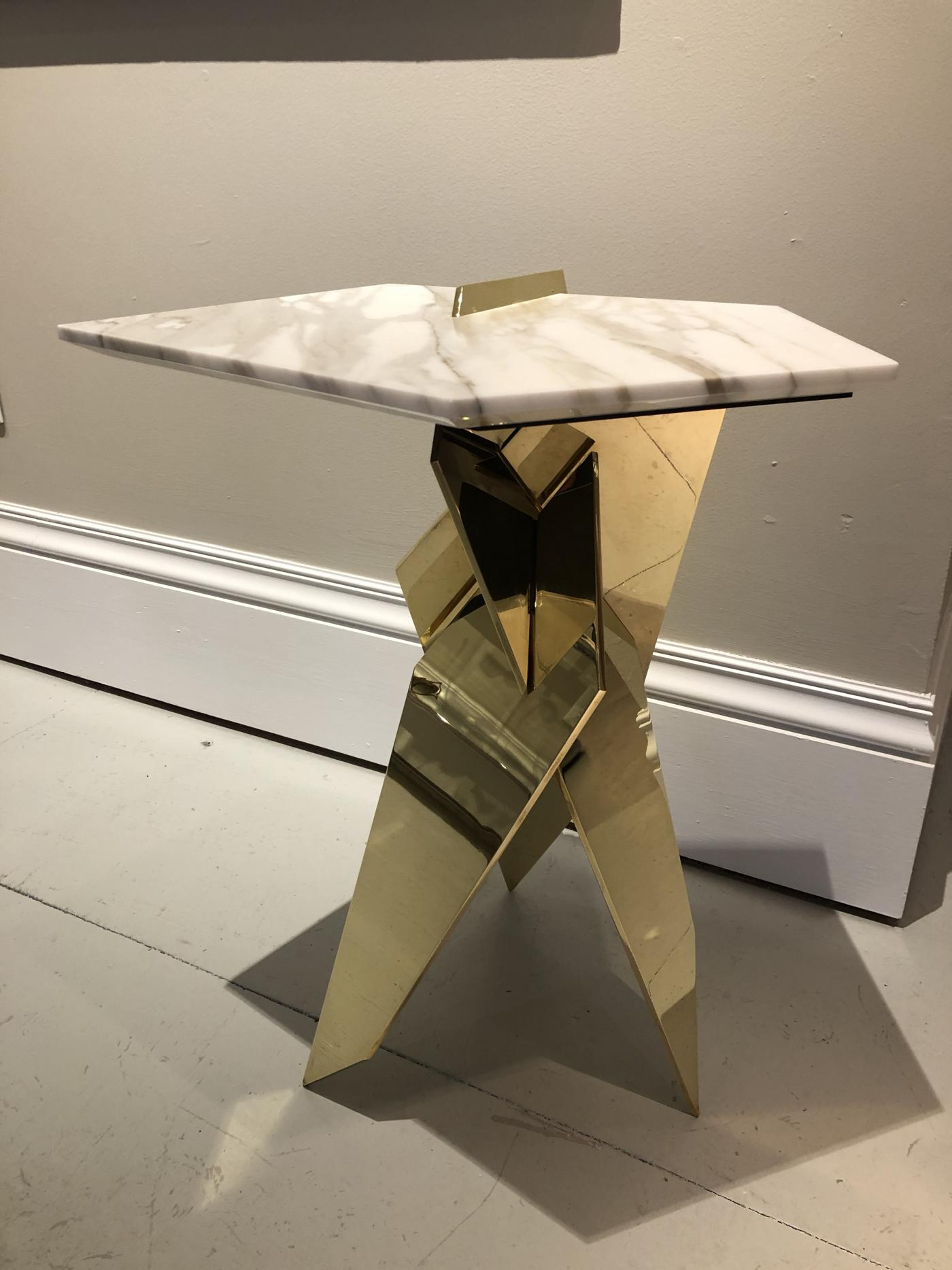 Shard Table. Brass and Calacatta marble.