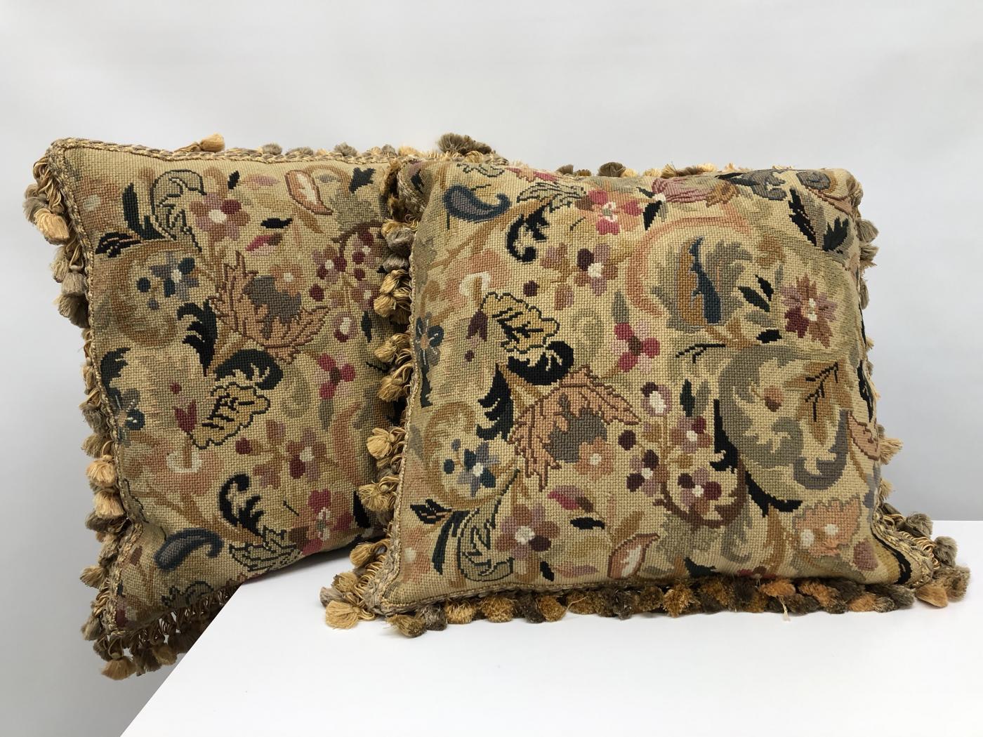 Pair of 19th century needlepoint pillows