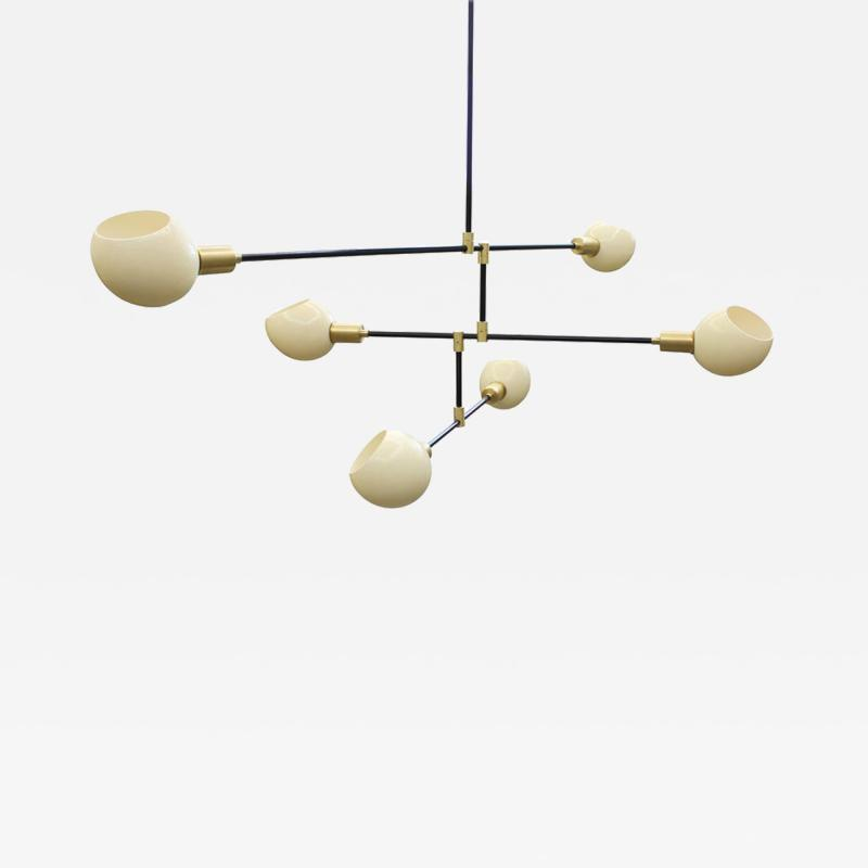 Sculptural chandelier by James Devlin, steel, brass, ostrich egg diffusers