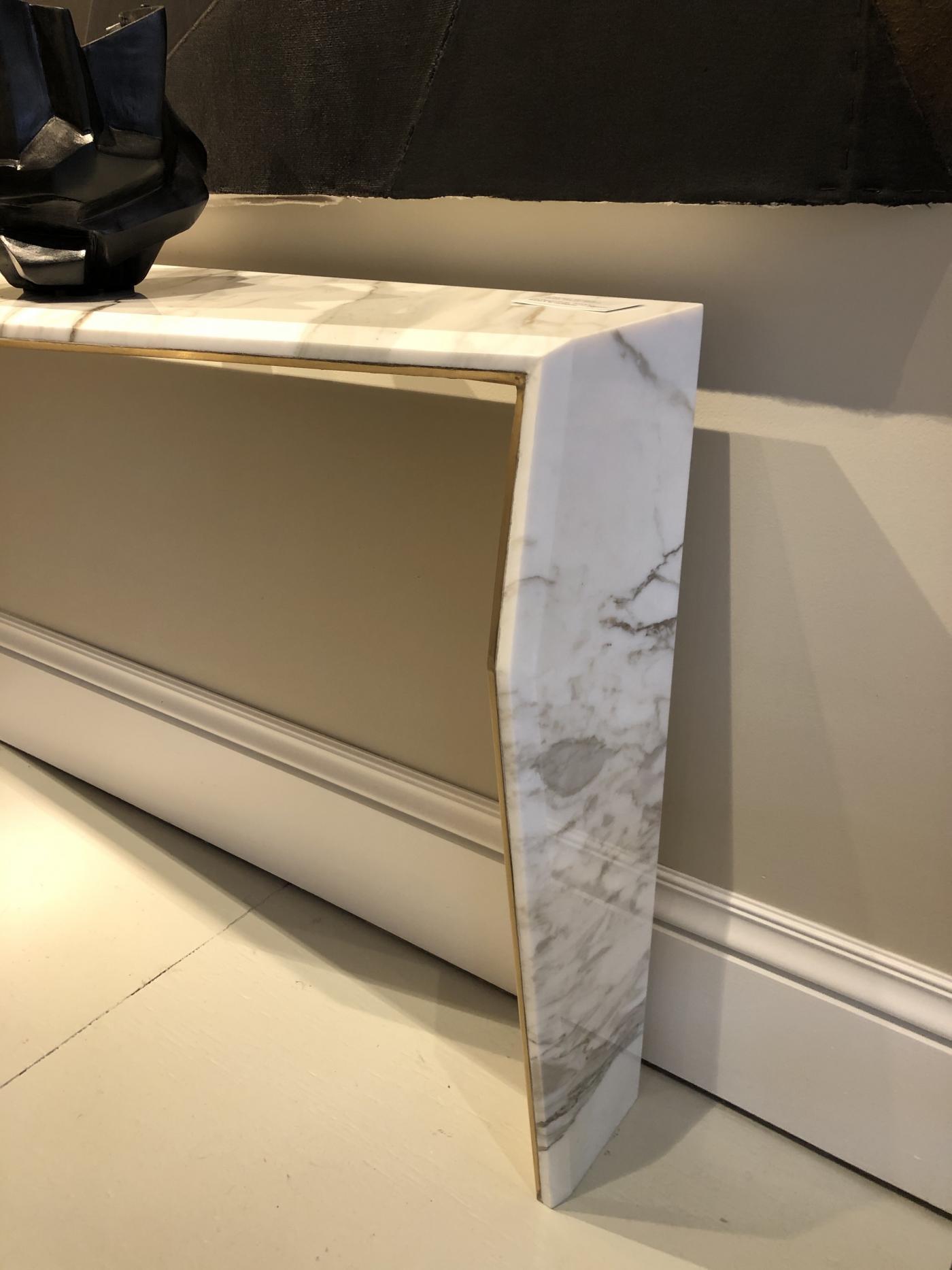 Chevron Console. Calacatta gold marble.