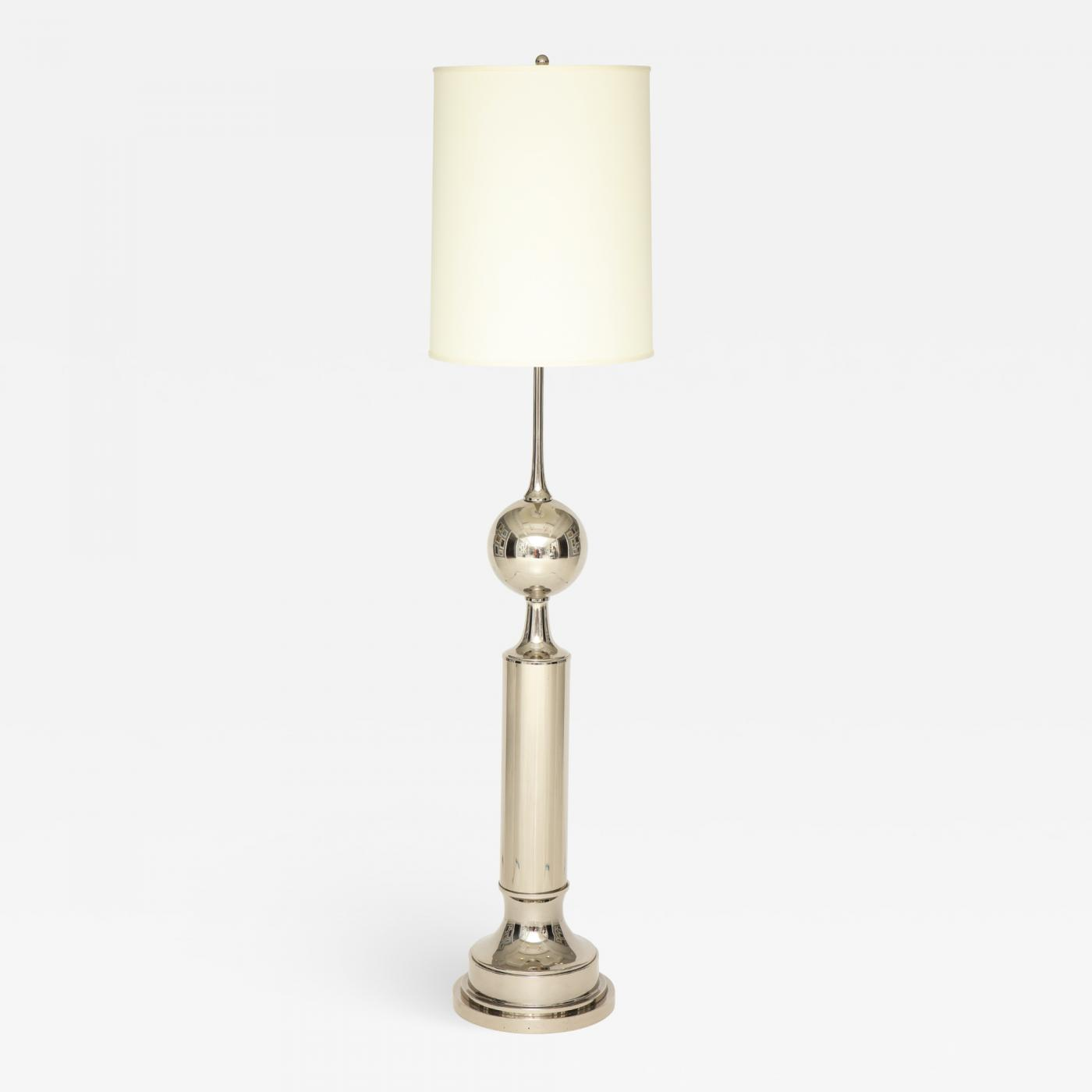A French 40's Floor Lamp. Crafted on nickel metal.