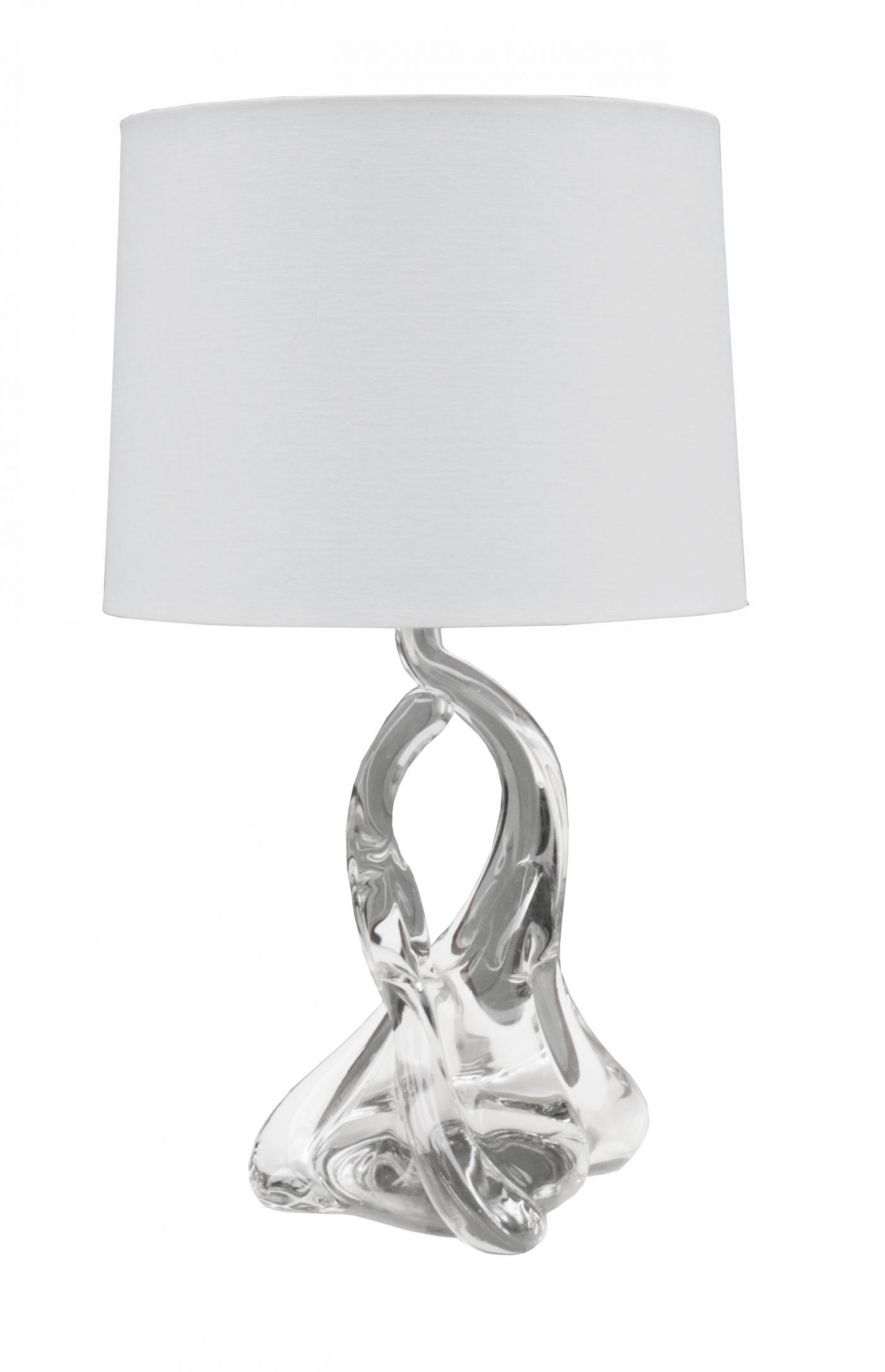 Pair of clear swivel glass lamps manufacturer Val Saint Lambert