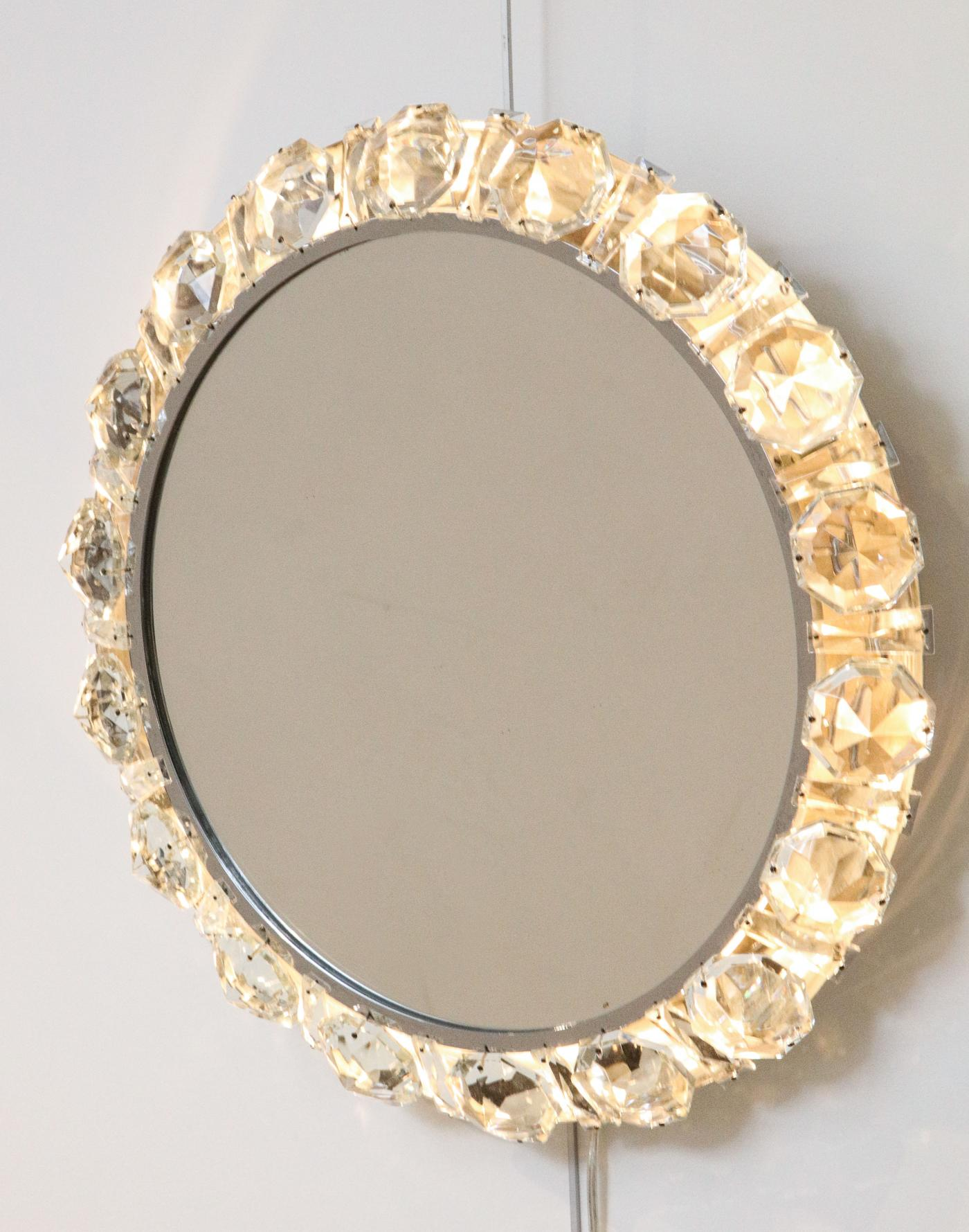 Backlit wall mirror, design by Palwa, Germany. 1960s.