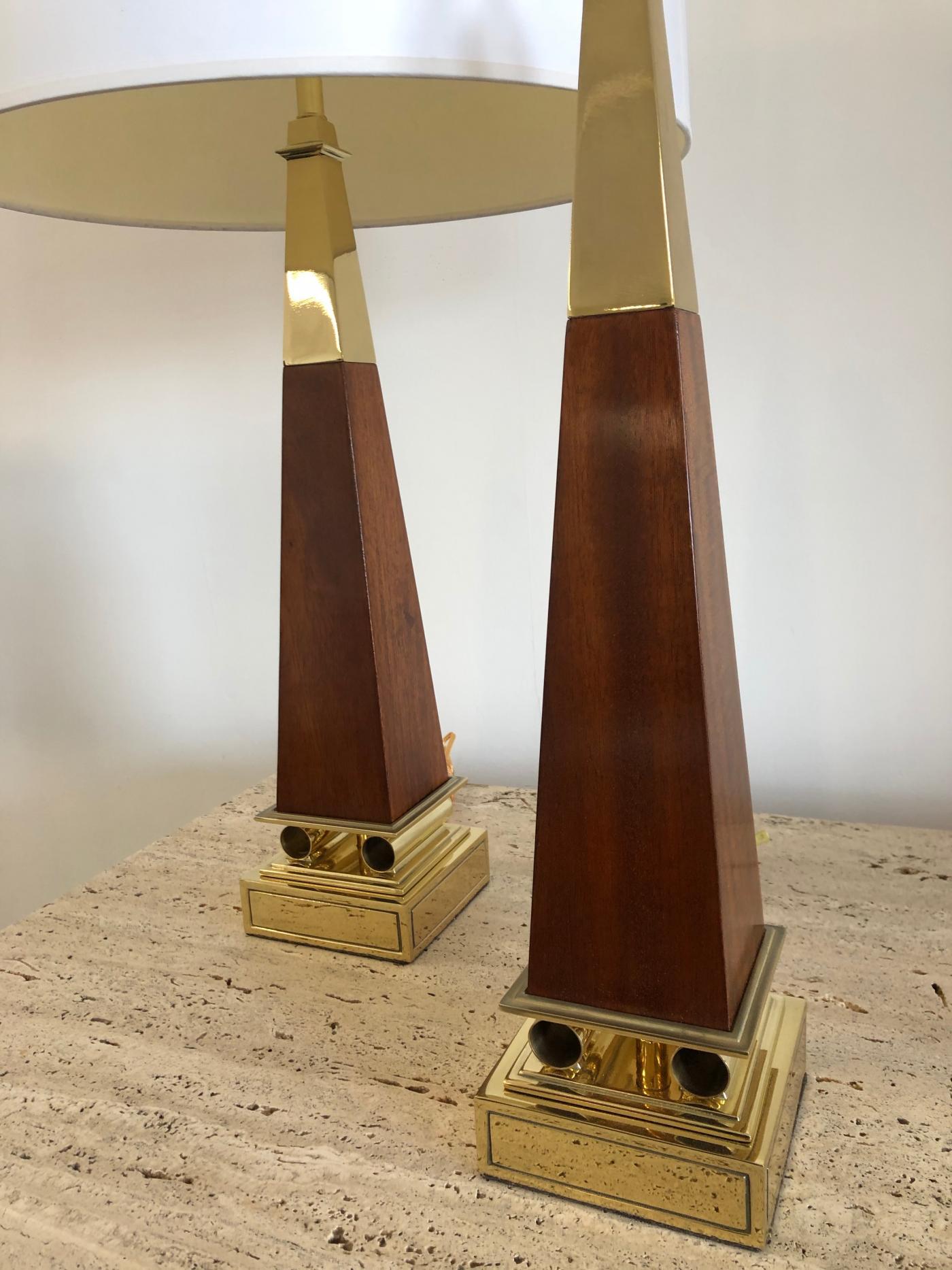 Pair of Obelisk Lamps.