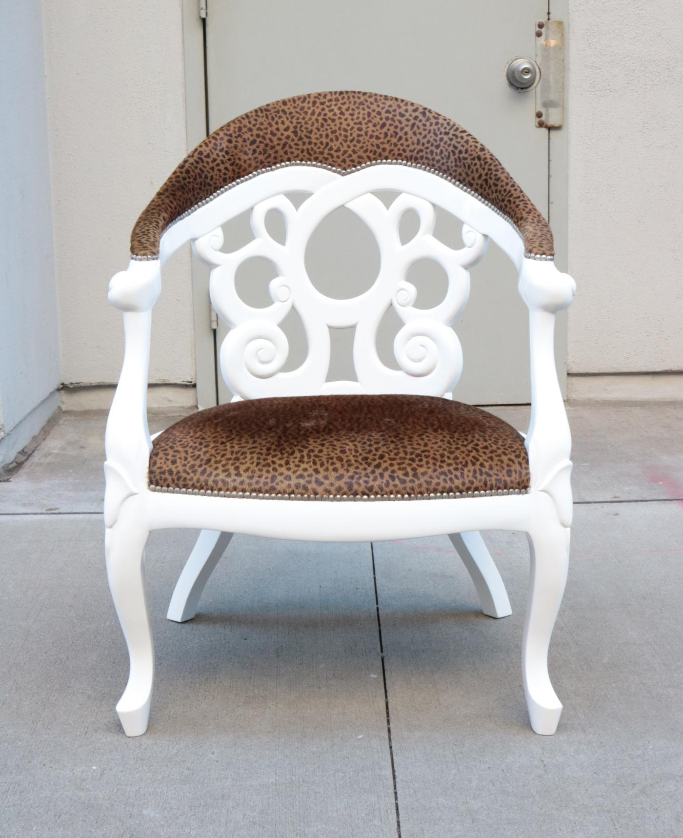 Pair of Armchairs designed by David Barrett. Solid wood in white Lacquer.