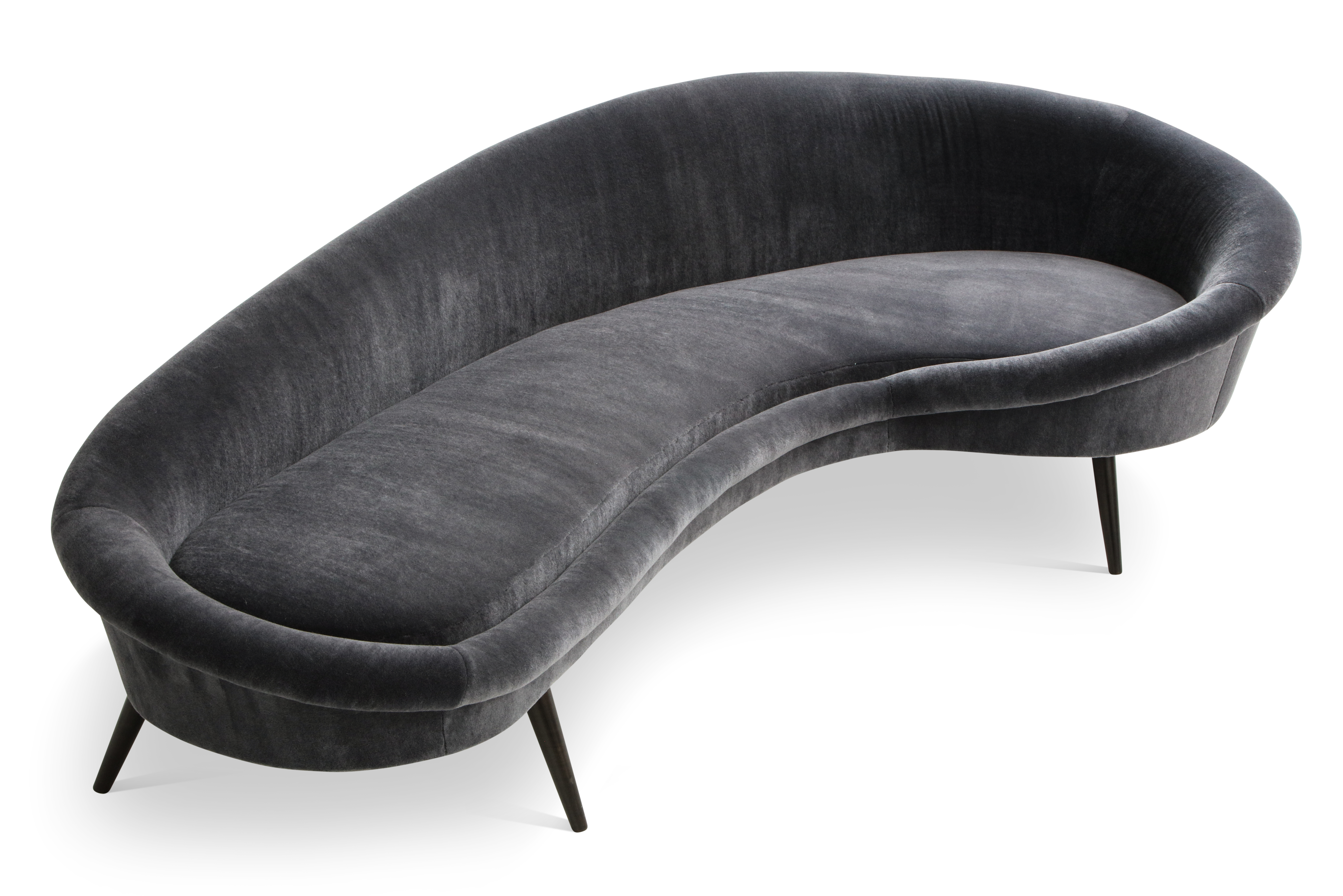 Mid Century Style Curved Sofa, Organic-form. Re-upholstered