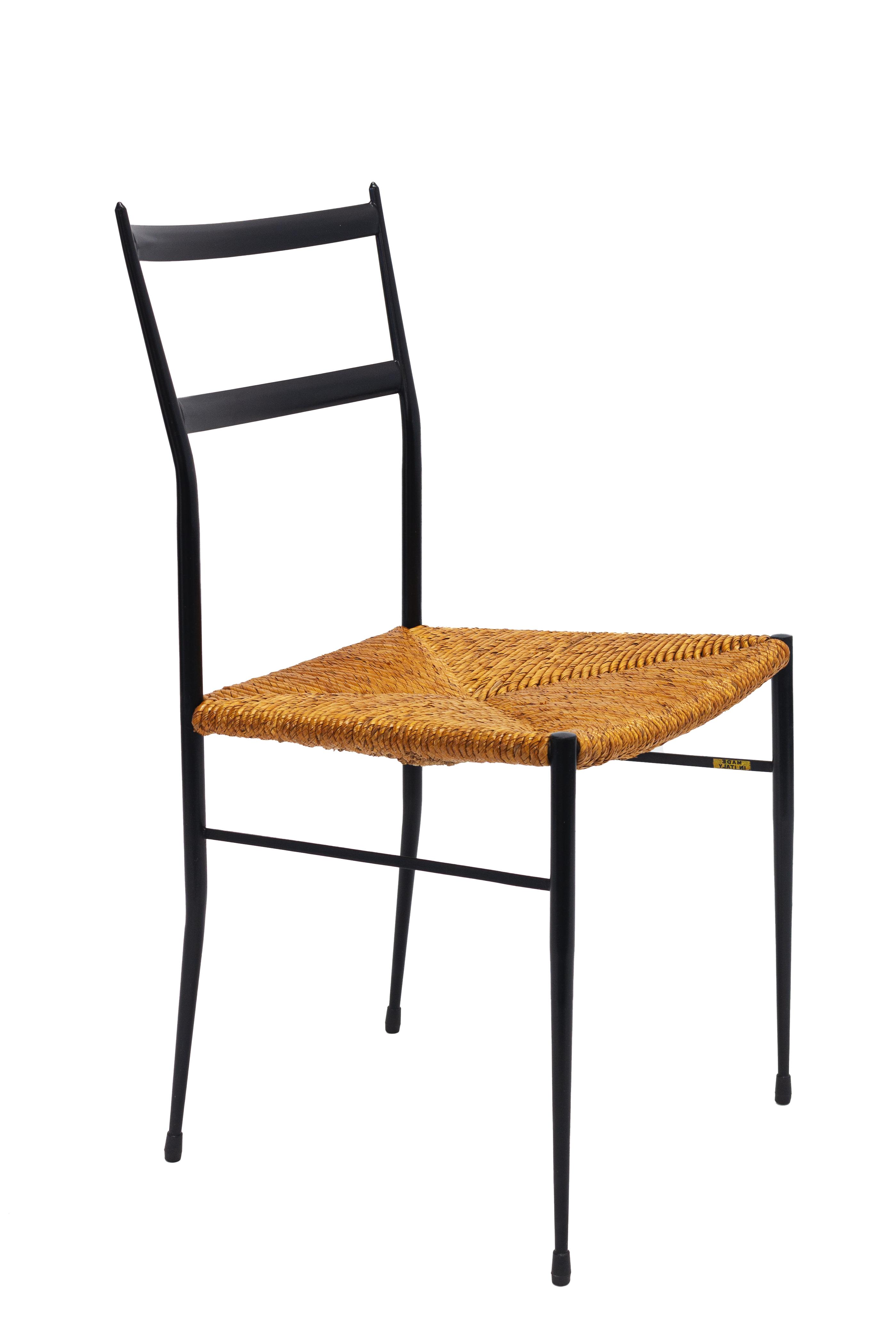 Pair of Mid Century Metal Superleggera Chairs, Attributed to Gio Ponti.