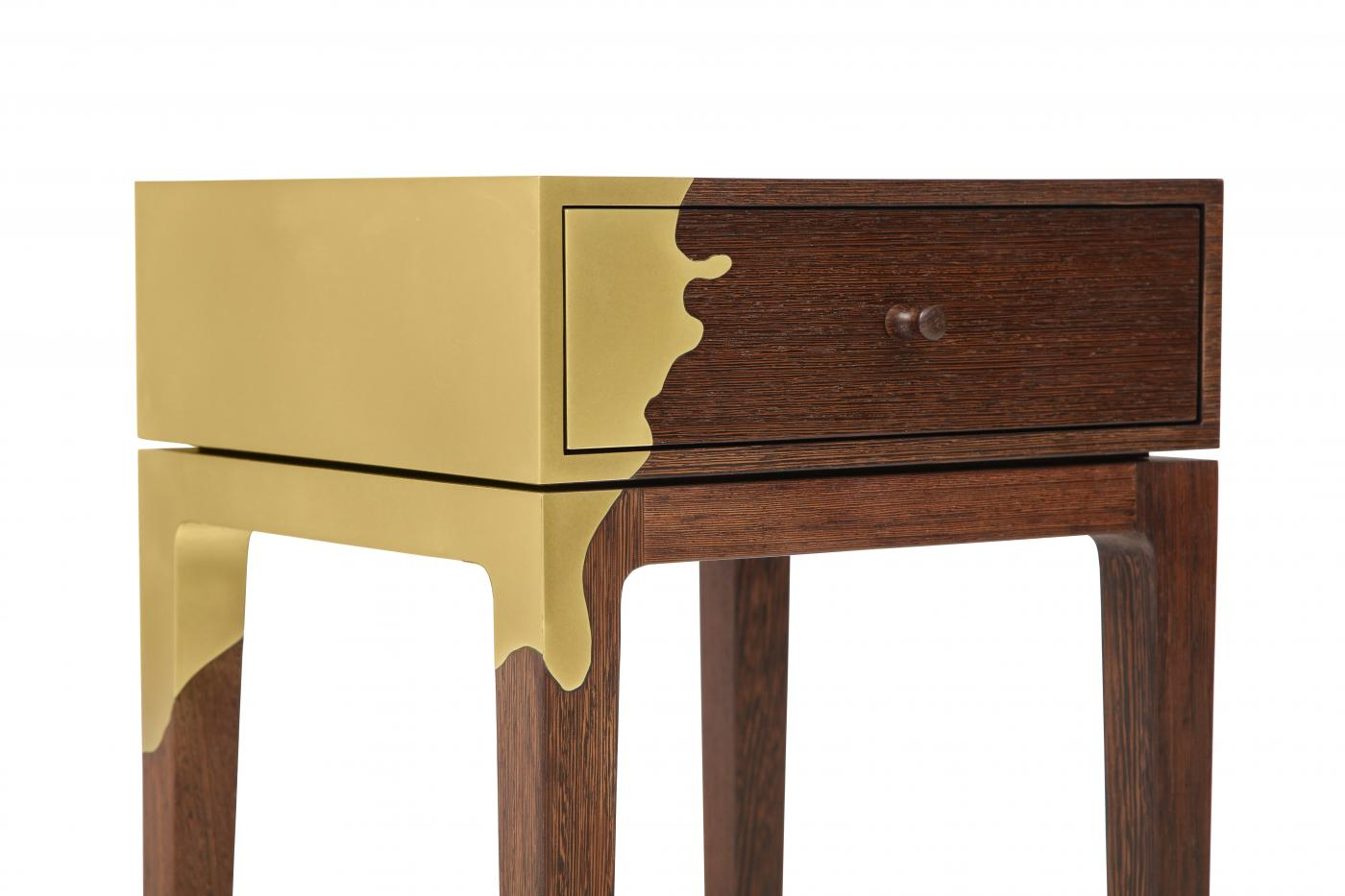 Contemporary oak and brass side table. America.