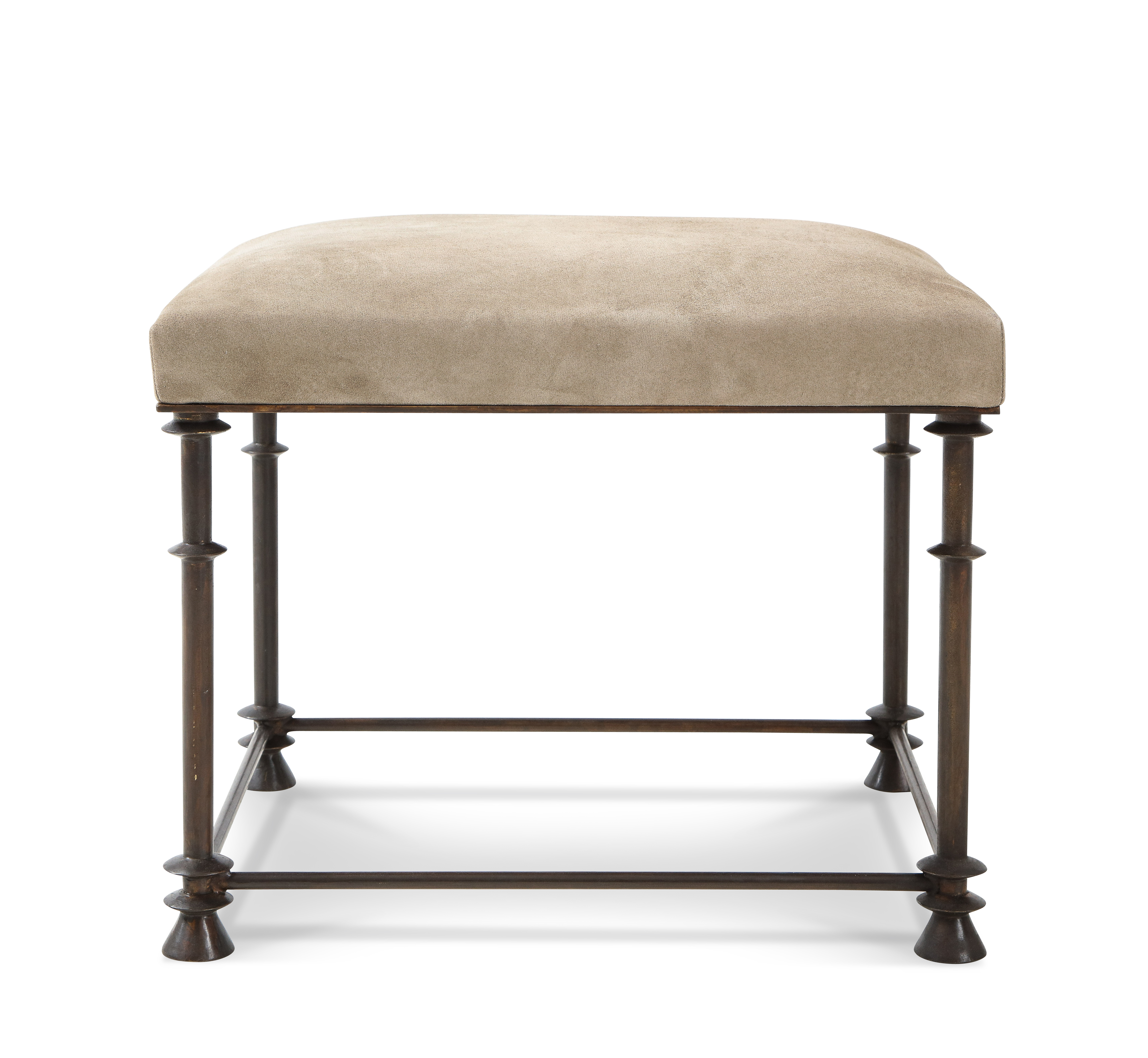 bronze legged stool covered with