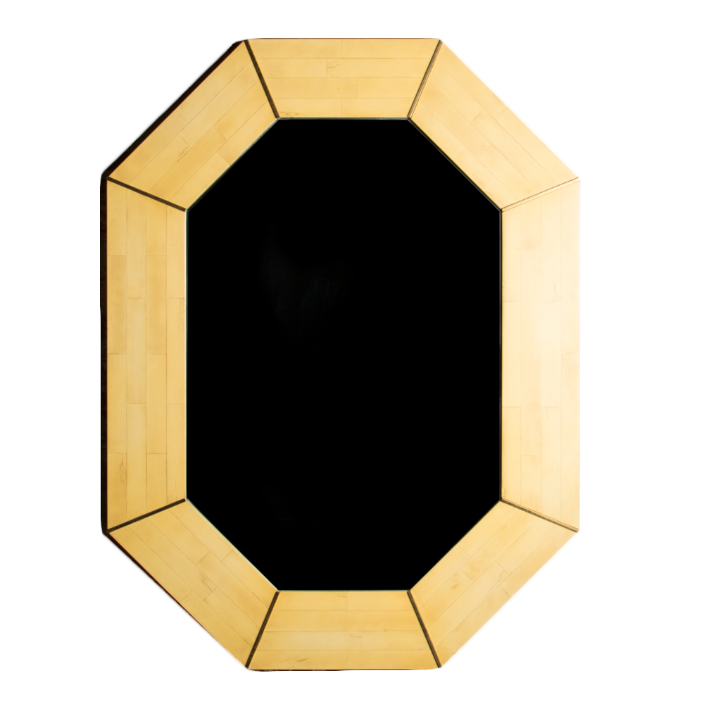 Octagonal mirror with tessellated Stone mosaic decoration and Brass details.