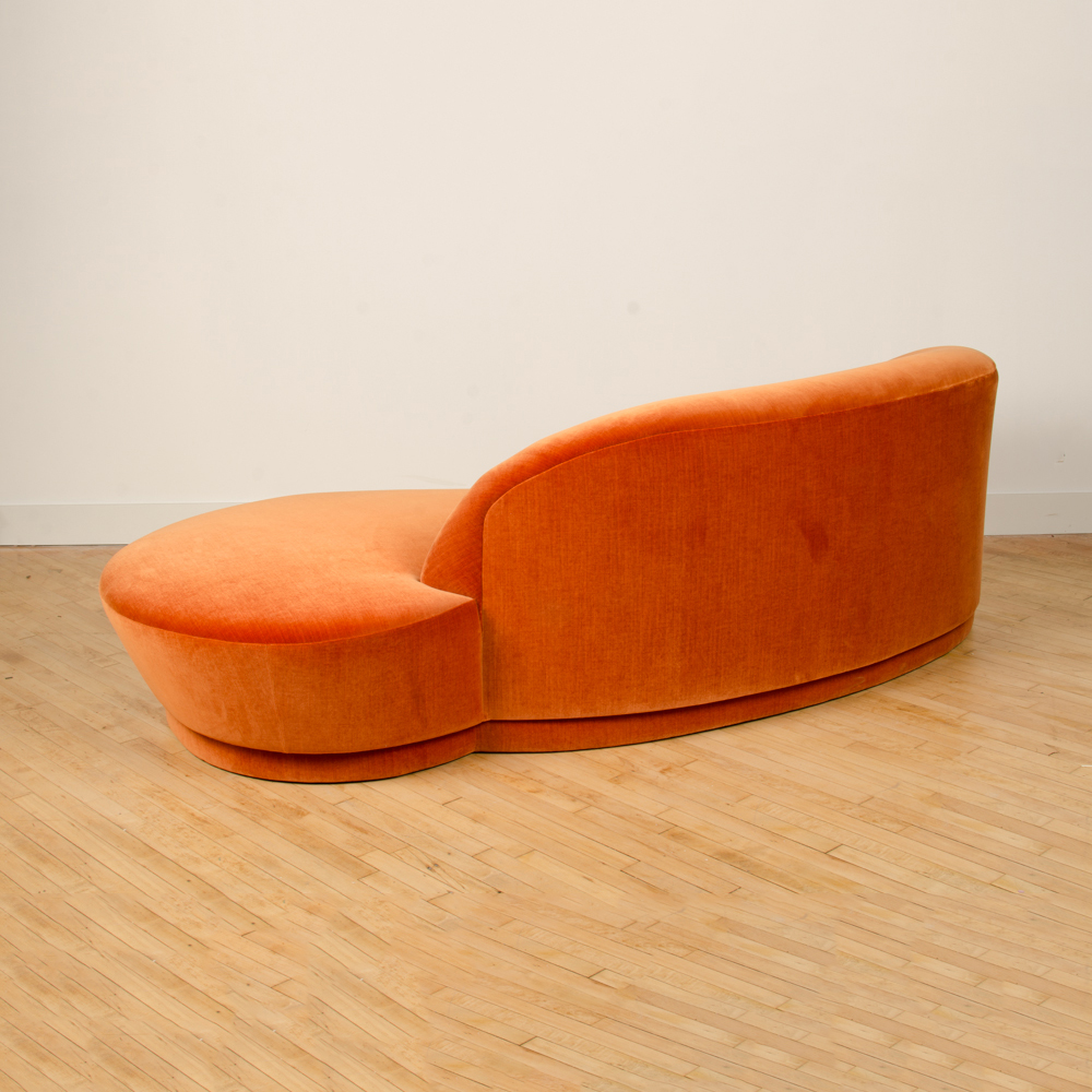 A Vladimir Kagan Weiman Preview Chaise Lounge Sofa, upholstered in a rich orange velvet C 1980.
