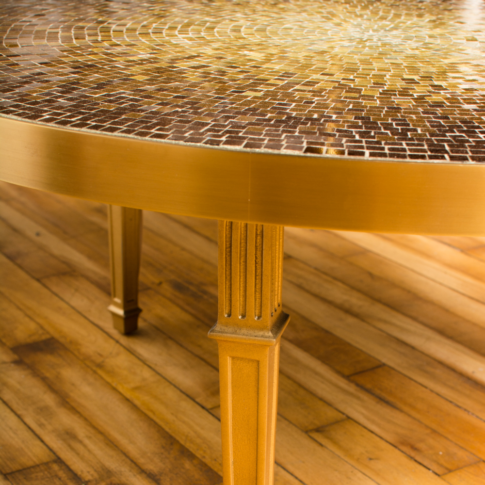 Mosaic Coffee table. Venetian glass tiles and bronze frame.