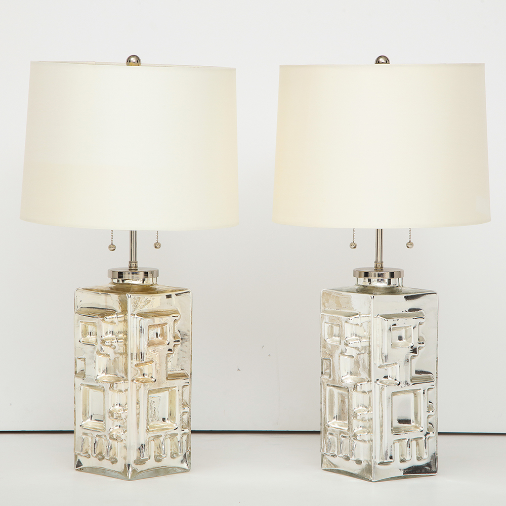 A pair of Mid Century Modern Mercury glass silver lamps