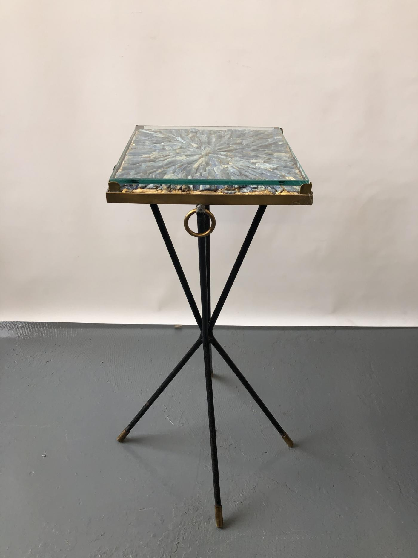 Italian side table, bronze details supporting a blue Kyantine stone top