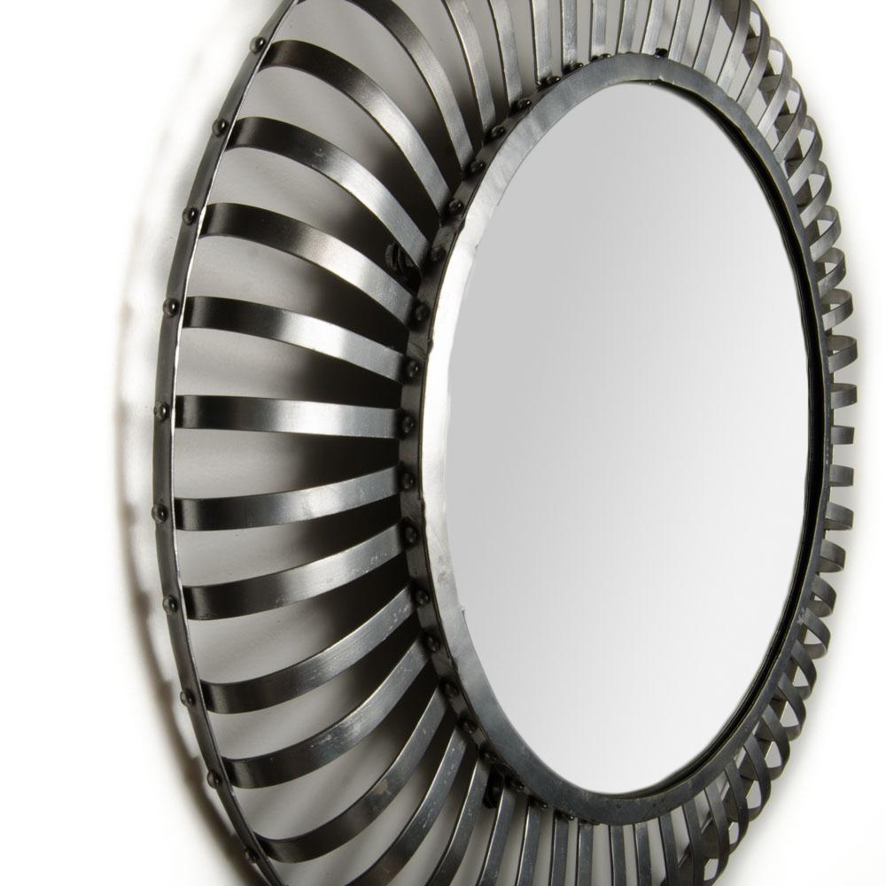 Mid-Century modern round industrial style mirror