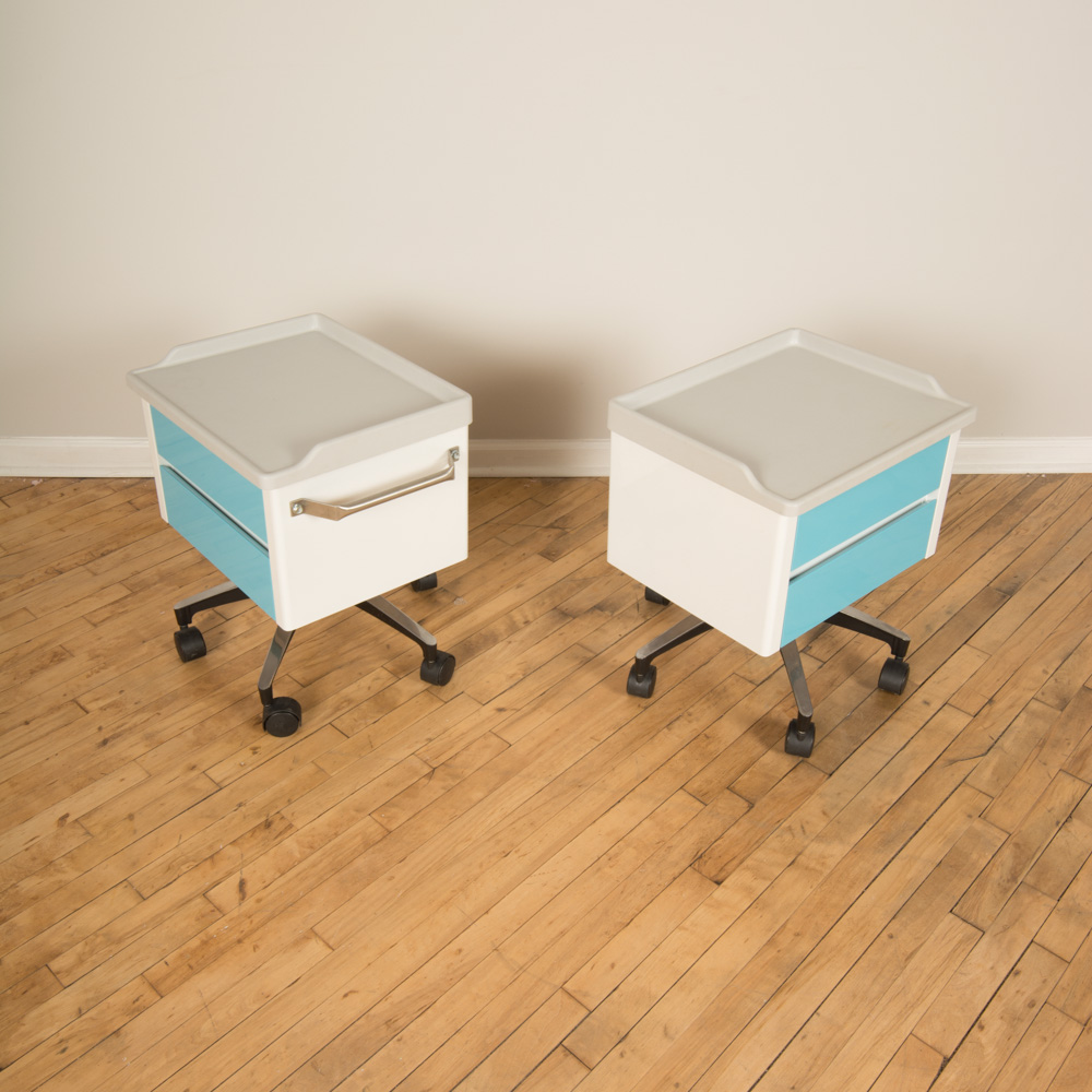 Pair of white and blue two drawer side cabinets