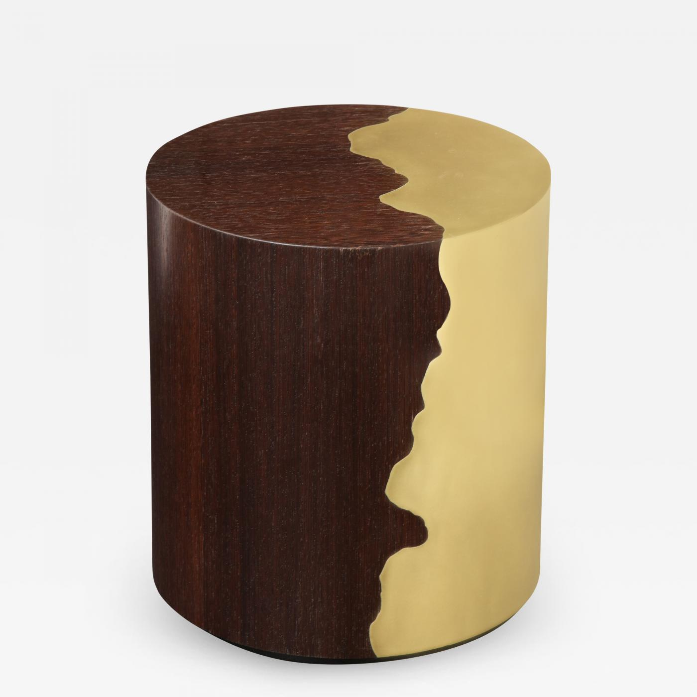Contemporary oak and brass round side table.