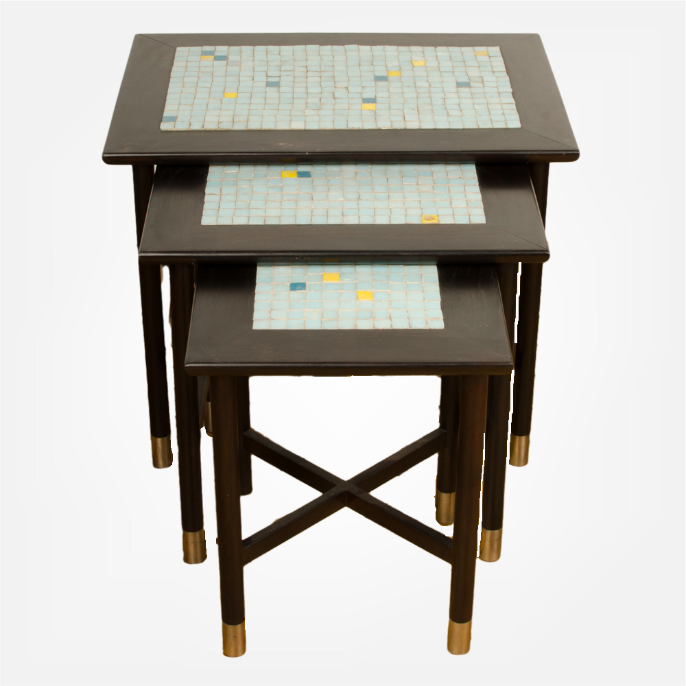 A set of three Mid-Century Modern nesting tables with tile inserts