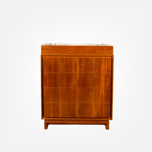 Mid-Century Modern high chest with brass inlay c1960..