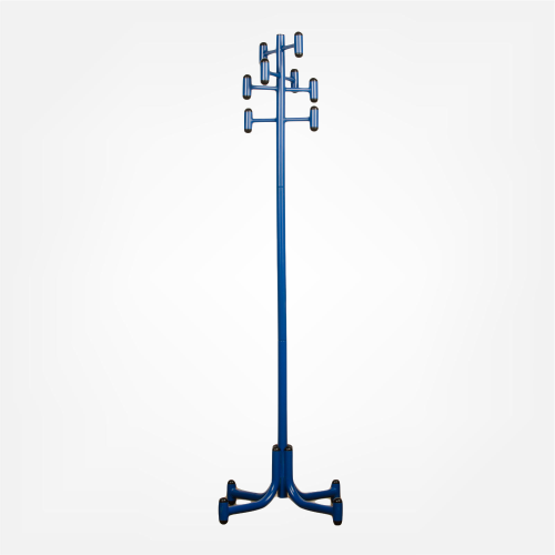 Steel and blue lacquer coat rack, American