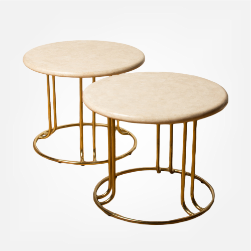 Pair of tessellated stone round side tables by Maitland Smith