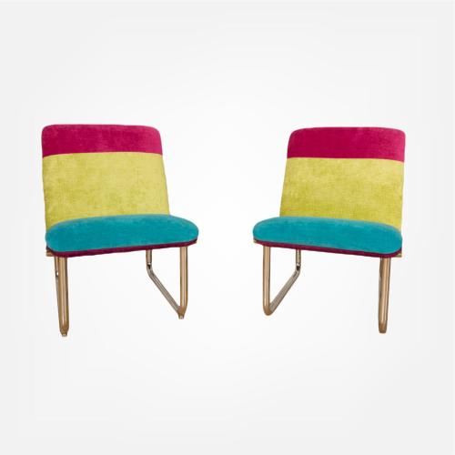 Pair of tubular chrome lounge chairs