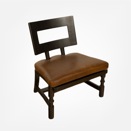 Mid-century armchair with leather seat