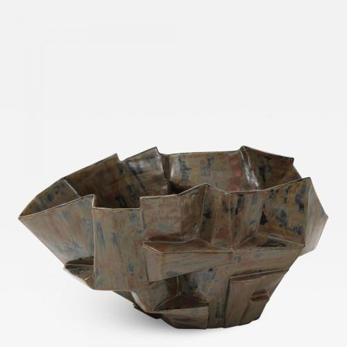 A Signed R.A. Pesce Wheel-Thrown and Manipulated Cubist Vessel