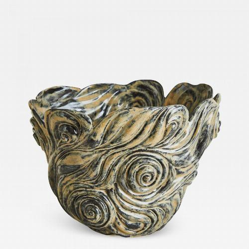 R. A. PESCE. Wheel-thrown, hand-carved biomorphic vessel