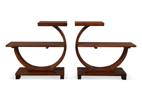 A pair of Modernist two-tier side tables.