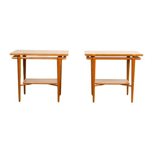 A pair of Mid Century Modern side tables design by T.H. Robsjohn-Gibbings for Widdicomb, American, C 1950. Branded.