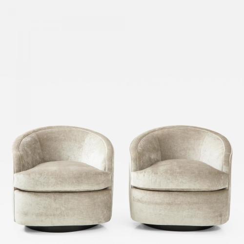 Pair of Milo Baughman style swivel chairs