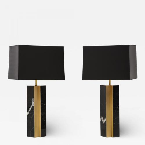 Pair of table lamp with bronze accents. Black and white dalamata quartzite.