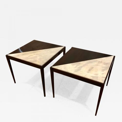 A pair od Mid-Century modern side tables. Rosewood with marble inserts. 1950s.