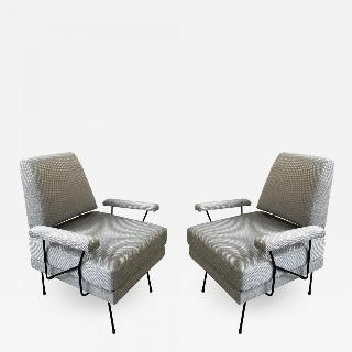 Pair of Mid Century Modern Iron Chairs.