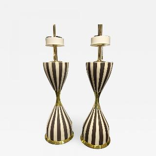 "Pair of ""Harlequin"" Table Lamps by Gerald Thurston"