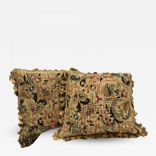 Pair of 19th century needlepoint pillows