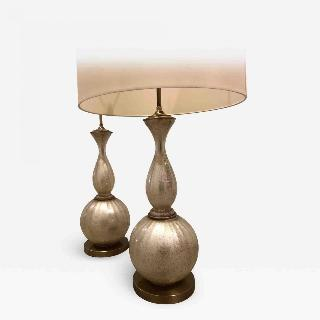 Pair of Mid Century opalescent glass lamps.