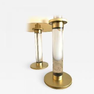 Pair of Lucite Brass Column Table Lamps