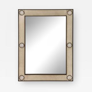 """Unique mirror with a """"parchemin gauffré"""" frame and rock crystals inserts."""