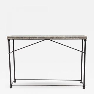 Neoclassical Style Console. Bronze with Blue Ocean Travertine Top